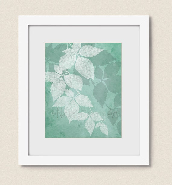 Sea foam green wall decor for bathroom wall art nature art for Bathroom decor green walls