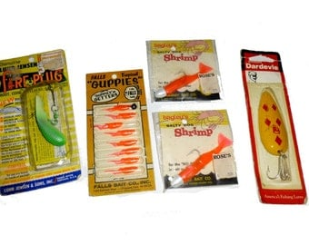 Grandpa's Fishing Box. 5 Old Lures in Original Packages. Neon 1970s.