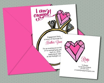 DIY- Diamond Ring, printable Engagment Party Invitation Suite with rsvp - bachelorette