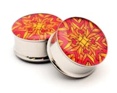 Geometric Style 1 Picture Plugs gauges - 16g, 14g, 12g, 10g, 8g, 6g, 4g, 2g, 0g, 00g, 1/2, 9/16, 5/8, 3/4, 7/8, 1 inch