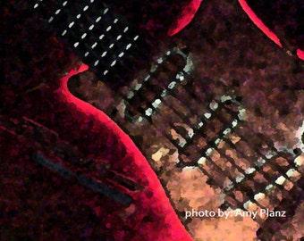 Neon Guitar Mini-Photo Art Print - ACEO