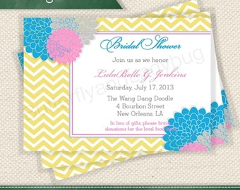 PRINTABLE Blue Chevron and Pink Grey and Blue Floral Baby Shower or Bridal Shower Invitation Digital File DIY You Print Yourself