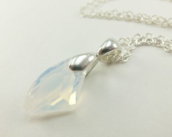 October Birthstone Necklace Opal Necklace Crystal Sterling Silver Necklace Opal Necklace