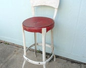 Vintage Stool Worn Red Metal Kitchen Farmhouse Cottage Chic Shabby