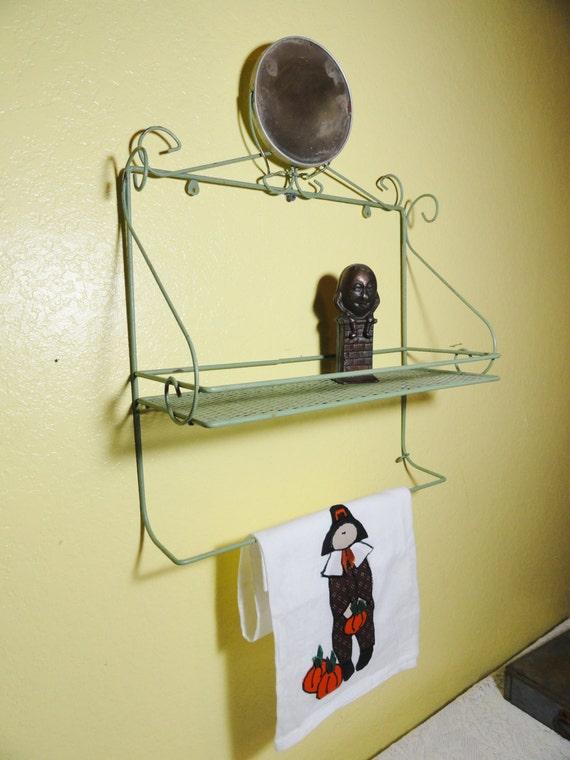 items similar to vintage shelf towel bar mirror jadeite. Black Bedroom Furniture Sets. Home Design Ideas