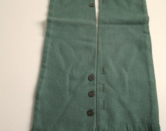 Vintage fringed Merino Wool Scarf, faux vest.  Gorgeous green woven scarf.  New old stock.  Made in USA.