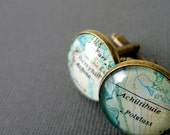Personalised Map Cufflinks, Bronze Anniversary Cufflinks, Best Man Gift, Unique Gift for Men, Husband Gift Idea, Wedding Gift