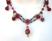 Red Glass with Metal Roses Beaded Necklace Bridal Jewelry Flower Girl Holiday Jewelry