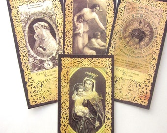 Religious Bookmarks Gift Card Tags Antique Lace Holy Card Reproduction