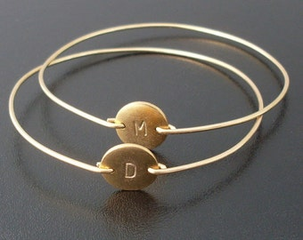 Personalized Bangle Bracelet, Gold Initial Bangle, Gold Bracelet, Initial Bracelet, Monogram Bangle, 14k Filled Band, Hand Stamped Bracelet