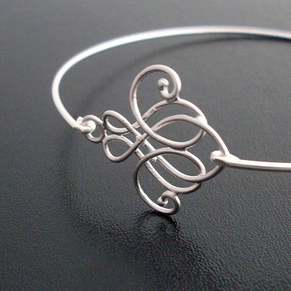 Skinny Bangle Bracelet Emima - Silver Swirl Jewelry, Skinny Bracelet, Skinny Jewelry, Thin Bangle Bracelet, Thin Bracelet, Thin Jewelry