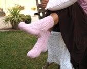 Knit socks pink cable knit girls socks bedsocks gift for her women's gift under 35 handmade gift Easter gift for friend warm socks aran