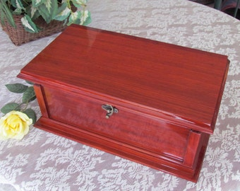 African Padauk, Exotic Wood Large Jewelry Box, Custom Handcrafted