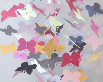 Pink Gray and Yellow Butterfly Nursery Mobile Baby Girl Mobile