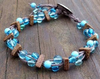 Blue Glass Bracelet - Blue Glass Beads, Brown Hemp, Multi Strand Bracelet