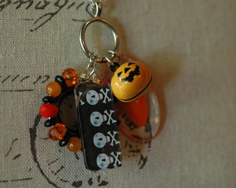 Mixed Media Halloween Charm Necklace , Pumpkin necklace , Halloween Necklace, Halloween Charm Necklace ,