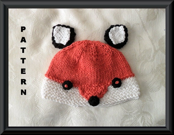 Knitting Pattern Fox Hat : Knitted Hat Pattern Baby Hat Pattern Instant Download Baby Hat