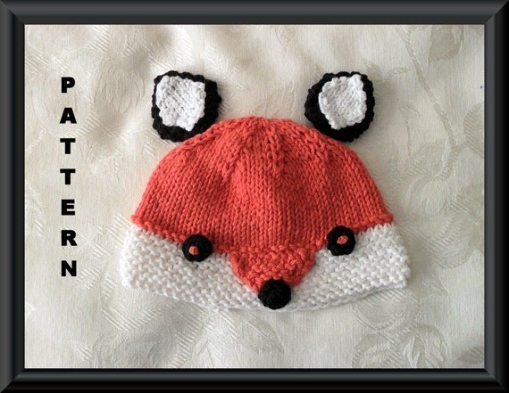 Knitting Pattern For Child s Fox Hat : Knitted Hat Pattern Baby Hat Pattern Instant Download Baby Hat