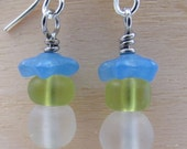 Blue, Green and White Frosted Glass Earrings, Dangle Earrings, Glass Beaded Jewelry, Handmade Jewelry