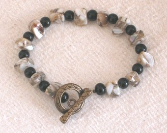 Brown and Tan Shell and Resin Bracelet with Black Beads