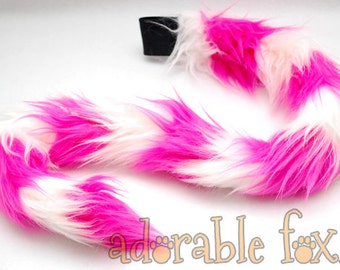 Faux Fur Cat Tail - Pink and White Stripe - Cosplay / Furry / Costume