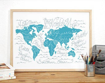 Travel Map Gift, Travel Map Poster, Large World Map - World Map Poster: