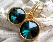 Emerald Green Earrings, Swarovski Crystal Jewels, Green Crystals, May Birthstone, Vermeil Gold Earwires - Emerald Ice