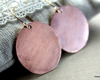 Copper Disk Earrings, Round Circle Earrings, 14k Gold Filled, Sterling Silver