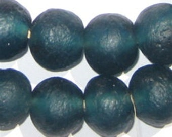 40 Teal Recycled Glass Beads - 18mm - Blue African Beads - Made in Ghana ** (RCY-RND-BLU-553)