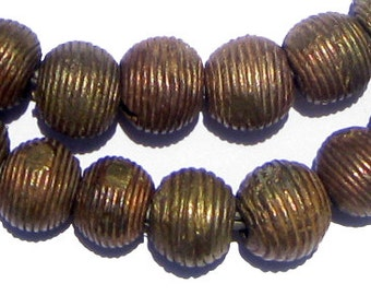 45 Ghana Brass Beads - Wound Metal Beads 11mm - African Beads - Jewelry Making Supplies - Made in Ghana ** (MET-RND-BRS-175)