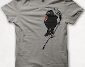 Mens Redwing Blackbird Tshirt Screenprinted Bird Shirt Graphic Tee - Concrete