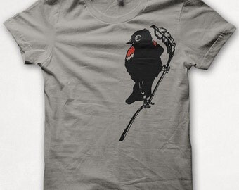 Mens Redwing Blackbird Tshirt Screenprinted Bird Shirt Graphic Tee - Concrete
