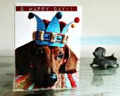 Dachshund O Happy Day Blue Crown Birthday Card