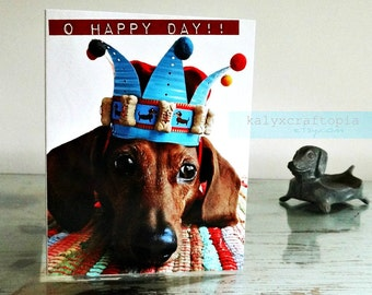 Dachshund O Happy Day Blue Crown Birthday Card