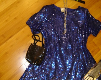 20's  flapper blue sequin  silk dress Halloween GATSBY COSTUME womens sz 24 access