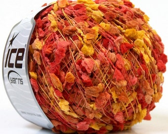TRAWL POMPOM yellow salmon brown  ice yarns 50gr micro fiber art 136 yrds multicolor ships from usa 26408