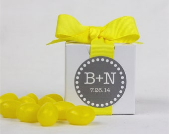 12 Personalized Bridal Shower Favor Boxes - Wedding Favors - Custom Stickers - Initials - 2 x 2
