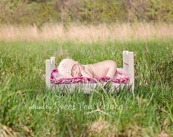 Newborn Baby Child Photography Prop Digital Backdrop for Photographers Girl Pink Bed Outdoors