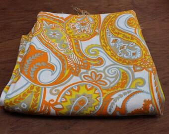 """Vintage fabric unused yardage paisley 2 yards 45"""" width Mod Mid century Yellow Orange Psychedelic"""