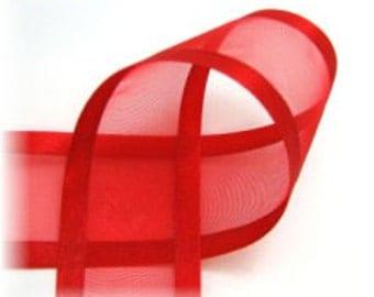 1.5 inch ORGANZA SATIN TRIM Ribbon-------3 Yards-----Red------Hair bow Making Supplies