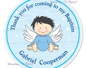 Baptism Baby Boy Angel -Personalized Stickers or Labels for your Favors -Choose Size-