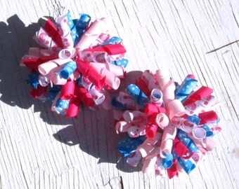 Princess Carriage Corker Hair Bows- Set of 2- Shocking Pink, Light Pink, Turquoise Blue Korker Bows