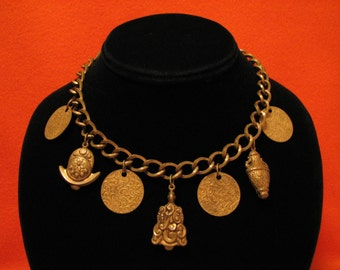 Antique Miriam Haskell Early Unsigned Gold Gilt Brass Floral Etched Repousse Coin Wine Vase Urn Charm Choker Necklace