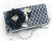 Handbag, Navy Blue, Cream, Ivory, Wedding, Purse, Mother of the Bride, Lace, Pearls, Crystals, Elegant, Vintage Style, Pearl Strap