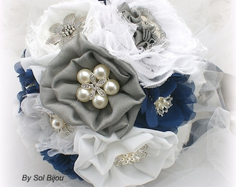 Brooch Bouquet, Navy Blue, White, Silver,Gray, Grey, Elegant Wedding, Vintage Style, Bridal, Jeweled, Lace Bouquet, Pearls, Crystals