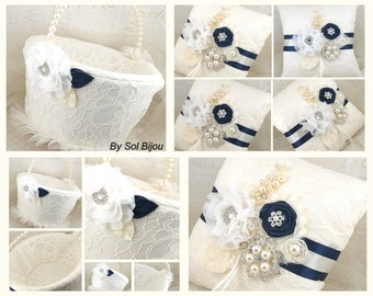 Ring Bearer Pillow, Flower Girl Basket, Ivory, Cream, Navy Blue, Lace, Brooch, Crystals, Pearls, Vintage, Elegant, Gatsby Wedding