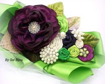 Sash, Purple, Plum, Emerald Green, Green, Lime Green, Ivory, Garden Wedding, Summer Wedding, Bridal, Burlap, Satin, Pearls, Crystals