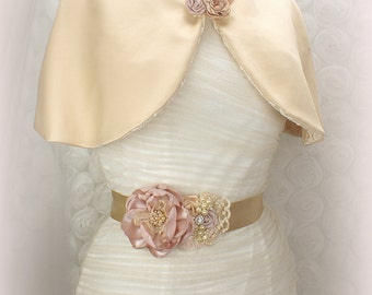 Wedding Cape, Champagne, Ivory, Tan, Gold, Bridal Cape, Vintage Style, Elegant Wedding, Satin, Shrug, Capelet, Bolero, Lace, Brooch