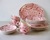 Vintage Myott Chintz china dinnerware set Bermuda pattern pink and white dishes