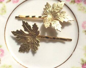 Gold maple leaf bobby pins